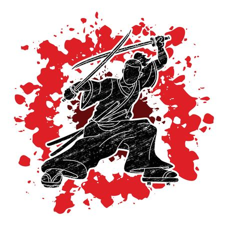 Samurai standing ready to fight with swords cartoon graphic vector