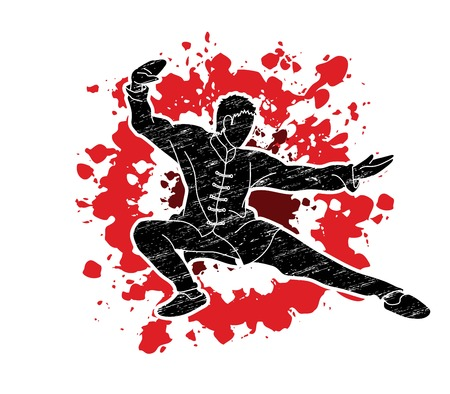 Man Kung Fu pose ready to fight graphic vector