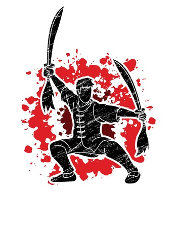 Man with swords action, Kung Fu pose graphic vector.