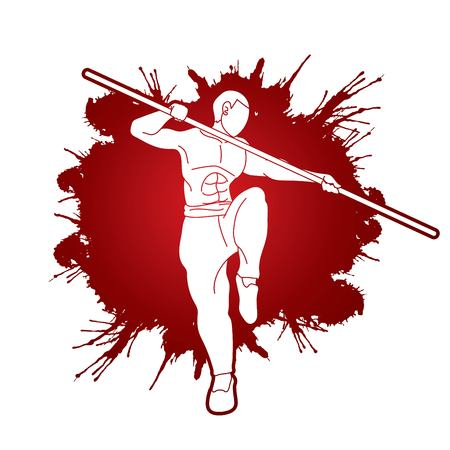 Man with quarterstaff action, Kung Fu pose graphic vector.