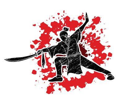 Hombre con acción de espada, vector gráfico de pose de Kung Fu.