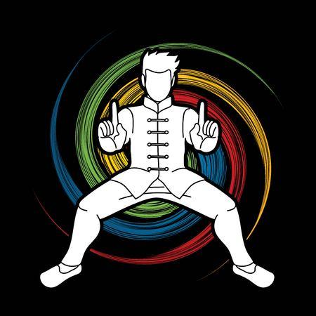 Hombre de acción de Kung Fu listo para luchar vector gráfico Ilustración de vector