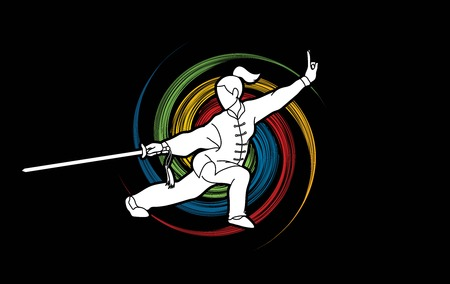 Woman with sword action, Kung Fu pose graphic vector. Vektorové ilustrace