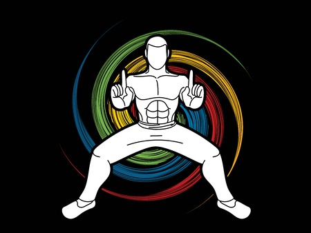Man Kung Fu action ready to fight graphic vector Ilustração