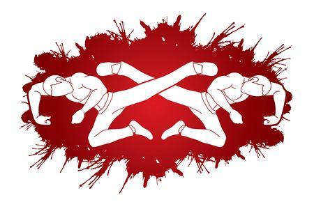 Kung Fu jump kick cartoon graphic vector