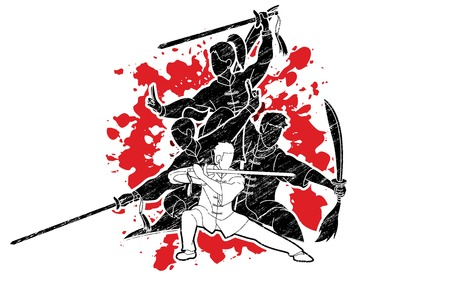 Kung Fu, Wushu with swords, Group of people pose kung fu fighting action graphic vector.