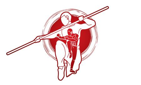 Kung Fu with quarterstaff action cartoon graphic vector.