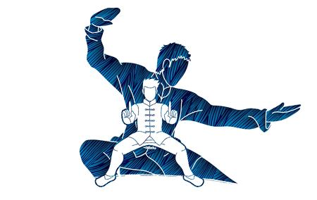 Kung Fu fighter, Martial arts action pose cartoon graphic vector Vektorové ilustrace