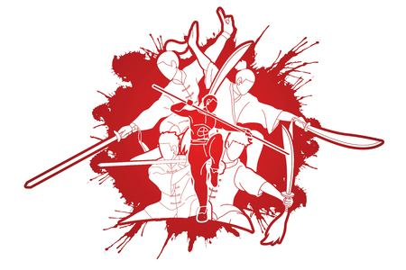 Kung Fu fighter with weapons, Martial arts action pose cartoon graphic vector.