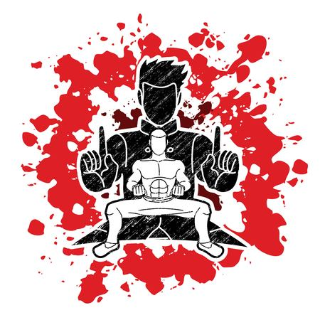 Kung Fu fighter, Martial arts action pose cartoon graphic vector 向量圖像