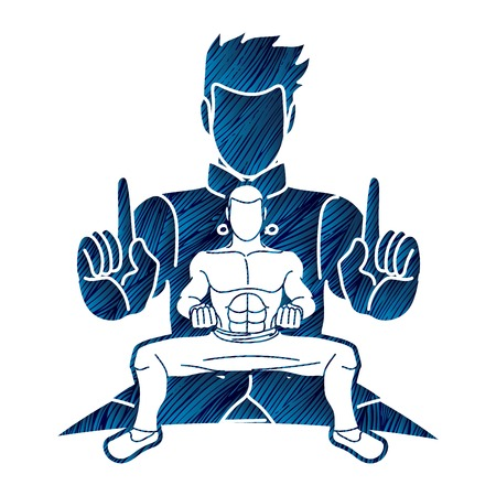 Kung Fu fighter, Martial arts action pose cartoon graphic vector Illustration