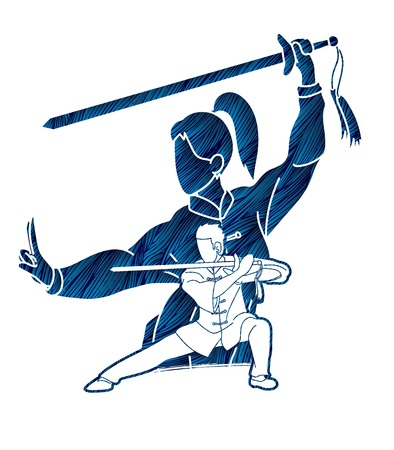 Man and woman Kung Fu fighter, Martial arts with weapons action cartoon graphic vector.
