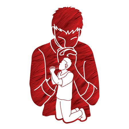 Prayer, Christian praying ,Praise God, Worship cartoon graphic vector