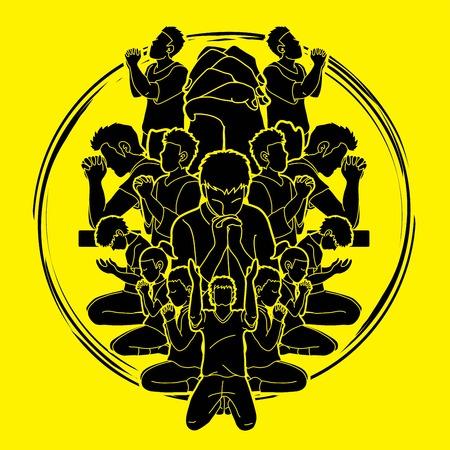 Groep gebed, christelijke bidden samen cartoon grafische vector Vector Illustratie