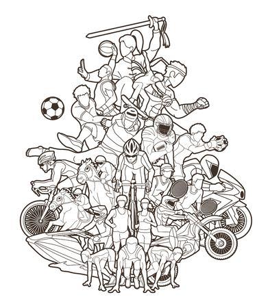 Sport mix , Sport players cartoon graphic vector