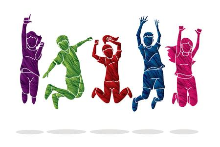 Group of children jumping Happy Fun Party graphic vector. Illustration