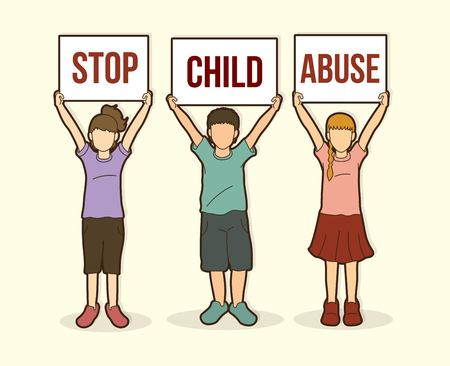 Stop Child abuse ,Children with sign board graphic vector.