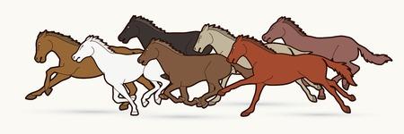 Seven Horses running cartoon graphic vector