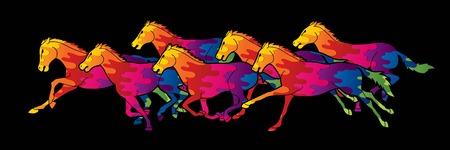 Sept chevaux exécutant un vecteur graphique de dessin animé
