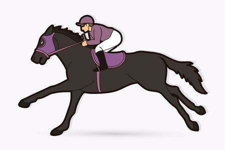 Jockey riding horse cartoon sport graphic vector Illustration