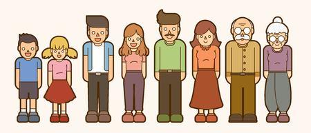 Family cartoon icon graphic vector