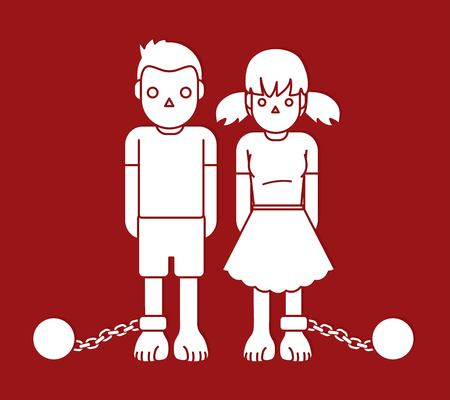 Stop Child abuse ,Children with chain and ball graphic vector.
