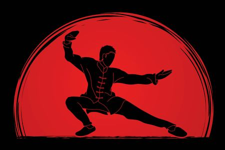 Kung fu action ready to fight cartoon graphic vector.