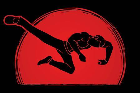 Kung Fu pose kick boxing jumping attack graphic vector Vector Illustration