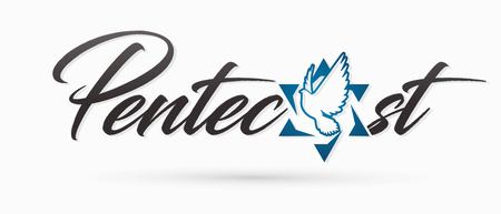 Pentecost text with Israel star and Holy Spirit  Dove graphic vector