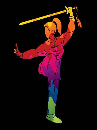 Woman with sword action, Kung Fu pose graphic vector. 向量圖像