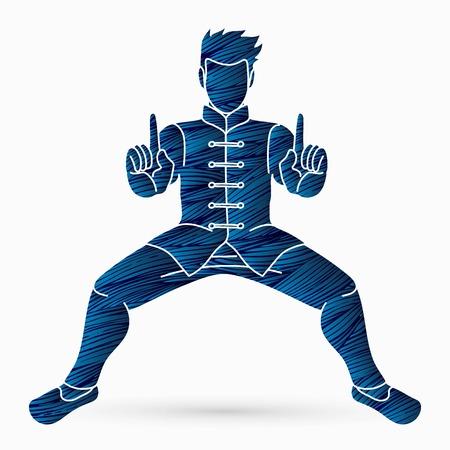 Azione Man Kung Fu pronta a combattere grafica vettoriale Vettoriali
