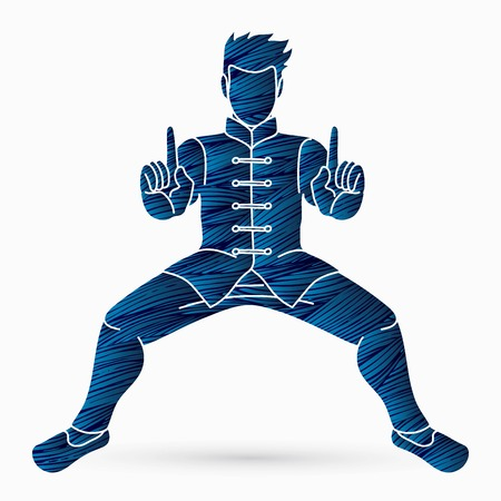 Man Kung Fu action ready to fight graphic vector Vector Illustratie