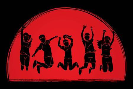 Group of children jumping, Happy Feel good cartoon graphic vector. Illustration