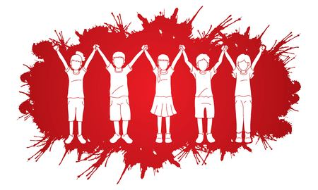 Group of children holding hands cartoon graphic vector. Illusztráció
