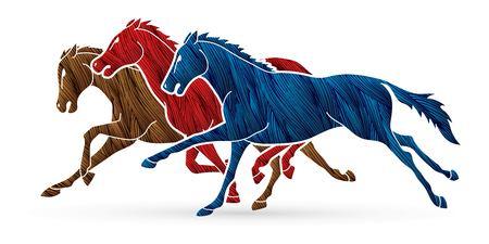 3 Horses running cartoon graphic vector