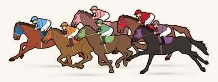 Group of Jockeys riding horse, sport competition cartoon sport graphic vector