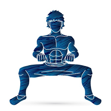 A Man pose Kung Fu fighting action graphic vector.