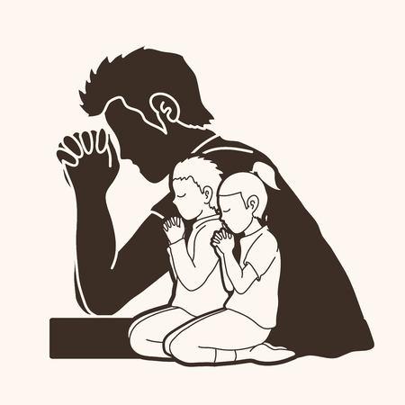 Oración, oración cristiana, alabado sea Dios, vector gráfico de dibujos animados de adoración.