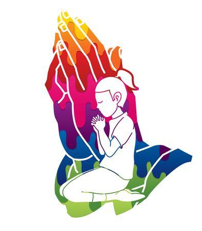 Prière, prière chrétienne, louange à Dieu, vecteur graphique de dessin animé d'adoration.