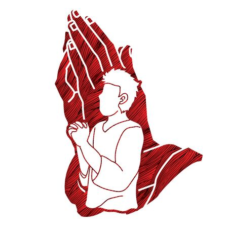 Oración, oración cristiana, alabanza a Dios, vector gráfico de dibujos animados de adoración. Ilustración de vector