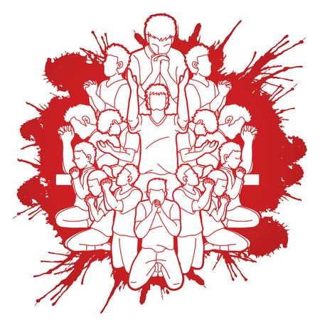 Group of Prayer, Christian praying together cartoon graphic vector Vetores