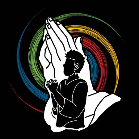 Prayer, Christian praying ,Praise God, Worship cartoon graphic vector.