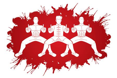 Kung Fu fighter, Martial arts action cartoon graphic vector.
