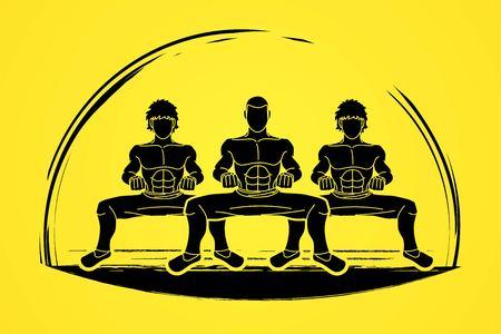 Kung Fu fighter, Martial arts action cartoon graphic vector.
