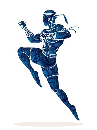 Muay Thai action , Thai boxing jumping to attack Cartoon graphic vector Illustration