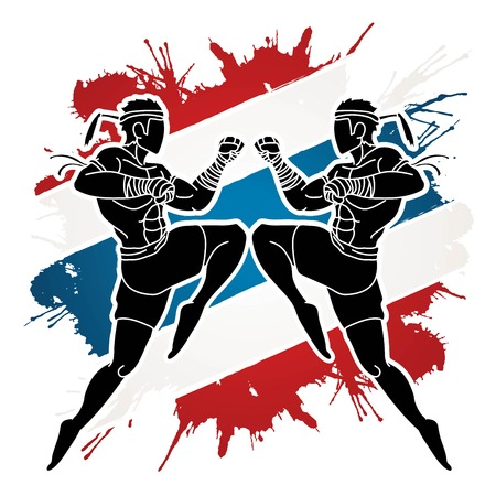 Muay Thai action , Thai boxing jumping to attack Cartoon graphic vector Ilustracja