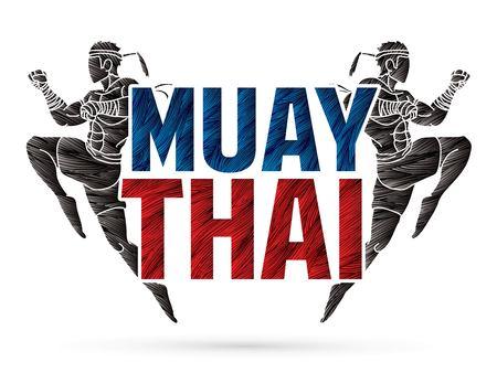 Acción de Muay Thai, boxeo tailandés saltando para atacar con vector gráfico de dibujos animados de texto