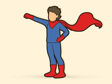 Little Super Hero Boy standing with costume cartoon graphic vector.