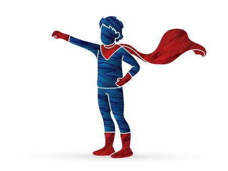 Little Super Hero Boy standing with costume cartoon graphic vector.