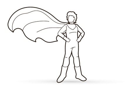 Super Hero Man standing with costume cartoon graphic vector.